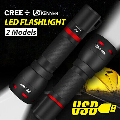 AU34.43 • Buy LED Flashlight Tactical Torch USB Rechargeable Work Light Camping Lamp Lantern