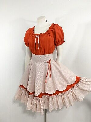 Vintage Square Dance Dress Patio Rockabilly Red White Dots Full Skirt Christmas  • 45$