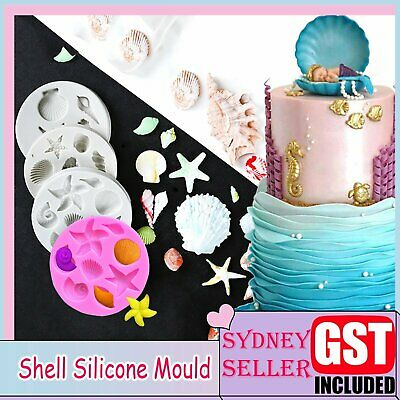 AU6.79 • Buy 3D Sea Shell Silicone Fondant Mould Cake Sugar Craft Starfish Icing Baking Mold