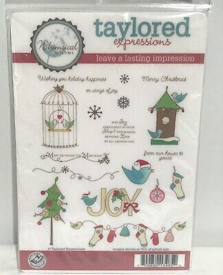 Taylored Expressions WINGS OF JOY Christmas Holiday Birds Cling Rubber Stamps  • 17.99$