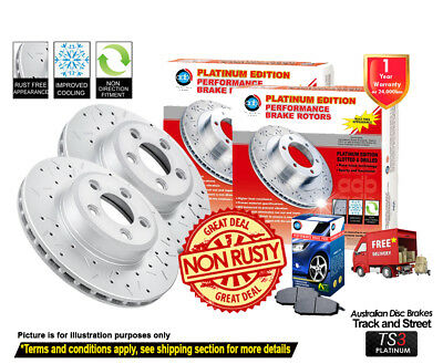 AU330 • Buy For FORD Falcon FG G6E-Turbo XR6T XR8 FRONT REAR Slotted Drilled Rotors & Pads