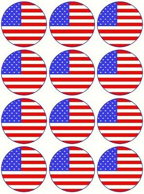 £1.99 • Buy 24 American Flag Usa America Fairy Cake Toppers Edible Party Decorations