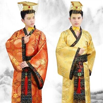 Mens Ancient Hanfu Costume Chinese Tang Emperor Performance Outfit Cosplay • 23.99£