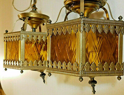 $125 • Buy 2 GOTHIC / Victorian AMBER GLASS & BRASS Hexagon SWAG HANGING LIGHTS / Lamps