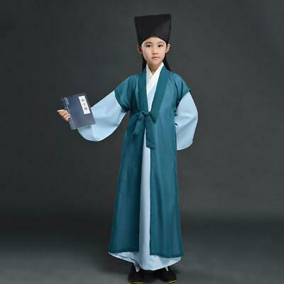£16.29 • Buy Chinese Ancient Student Kids Hanfu Acting Clothes Girl Boy Cosplay Uniform