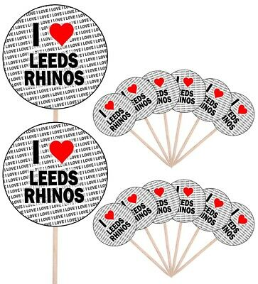 I Love Leeds Rhinos Party Food Cupcake Picks Sticks Flags Decorations Toppers • 4.99£