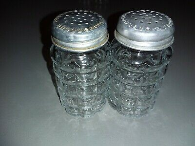 Vintage Anchor Hocking Clear Waffle Glass Salt Pepper Shakers Aluminum Tops • 2$