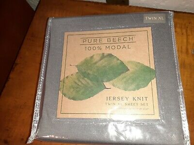PURE BEECH Twin XL Modal Jersey Knit Sheet Set CHARCOAL Gray Twin Extra Long Txl • 25$