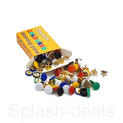 100 X Assorted Drawing Pins Strong - Multi Colour Thumb Tacks - 9.5mm Boxed • 2.19£