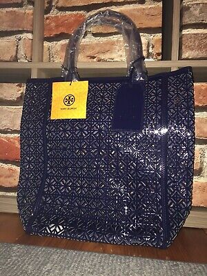 Tory Burch Perforated Lace Patent Leather Navy Blue Hand Bag Tote Shopper Purse • 39.90$