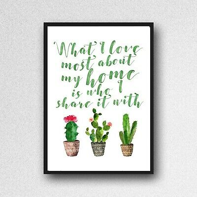 Cactus Love Share Home Print Picture Botanical Plant A4 Unframed Wall Art Gloss • 3.99£