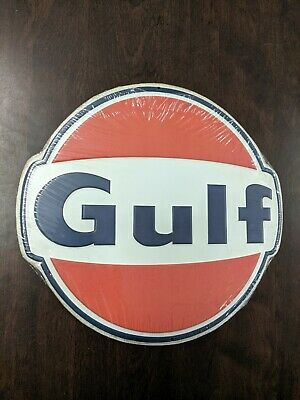 Gulf Supreme Gasoline Round Brand New 3-D Embossed Metal Advertising Sign  • 8.75$