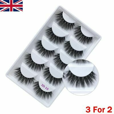 3D Mink False Eyelashes Long Thick Natural Half Fake Eye Lashes Set UK-5 Pairs • 3.59£