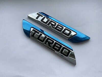 2 X Blue Metal TURBO Side Badge Sticker Car Door Fender V6 V8 Sport Emblem Decal • 9.50£