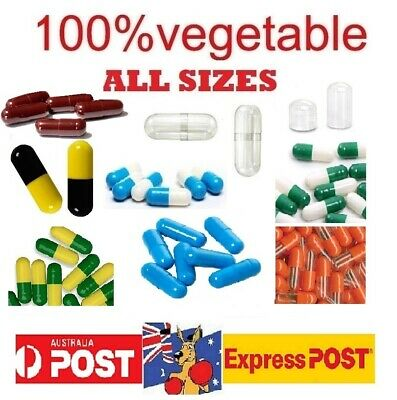 AU14.80 • Buy Size # 1 2 3 4 0 00 000  Empty  Capsules 100% Vegetable Medicine Pill Vitamins