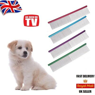 Pet Dog Cat Metal Double Row Teeth Grooming Hair Comb Brush Fur Rake Tool  UK  • 3.99£