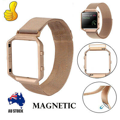 AU16.95 • Buy Milanese Magnetic Wrist Band Bracelet Strap & Metal Frame For Fitbit Blaze Watch