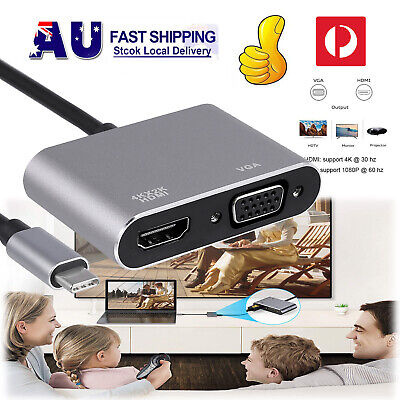AU18.95 • Buy USB 3.0 Type C To HDMI VGA HUB 4K HD Data Video Adapter Cable For HDTV Tablet AU