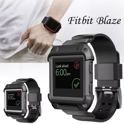 AU10.64 • Buy Rugged Protective Case With Silicone Wrist Strap Bands For Fitbit Blaze Watch Uk