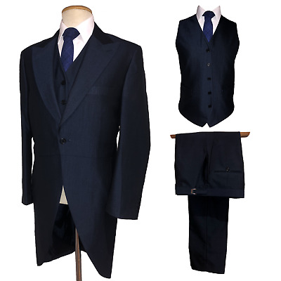 £130 • Buy Navy Blue Tailcoat Suit 3 Piece Tails Morning Suit Jacket Waistcoat Trousers New