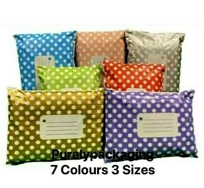 £3.85 • Buy Polka Dot Printed Mailing Bags Strong Mail Post Poly Self Seal 7 Colours 3 Sizes