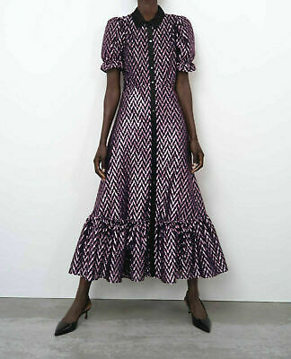 $85 • Buy Zara New Midi Metallic Thread Dress Ruffled Hem Black/purple Xl 4437/244