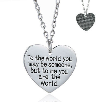 £3.99 • Buy Ladies Necklace Heart Love Quote To Me You Are The World. Wife Girlfriend Gift