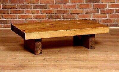 Extra Chunky Thick Rustic Coffee Table, Handmade, Solid Wood, Low Repurposed • 95.99£