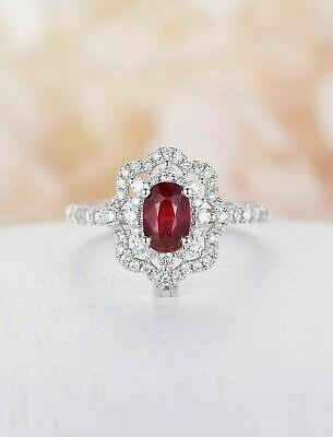 2ct Oval Cut Ruby Engagement Ring Halo Art Deco 14k White Gold Over Round Accent • 79.99£