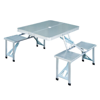 £69.99 • Buy Outsunny Portable Folding Trestle Camping Picnic Table Outdoor Chair Stools