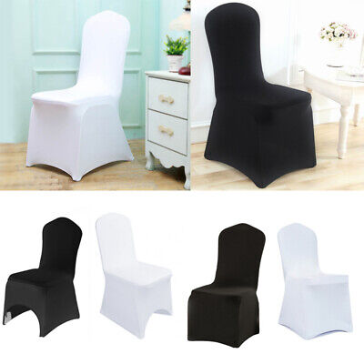 £71.94 • Buy 50 100 White Black Flat Arched Covers Spandex Lycra Chair Cover Wedding Party UK