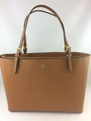 $183 • Buy New Authentic Tory Burch 49127 Emerson  Small Buckle Tote Purse Handbag Brown