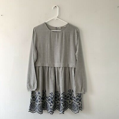 $17.99 • Buy Zara Grey Soft Feel Embroidered Layered Babydoll Mini Dress Size XL