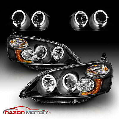 $125.99 • Buy 01-03 Civic Black Projector Headlights Halo Angel Eye/Hi-Power LED Daytime Lamps