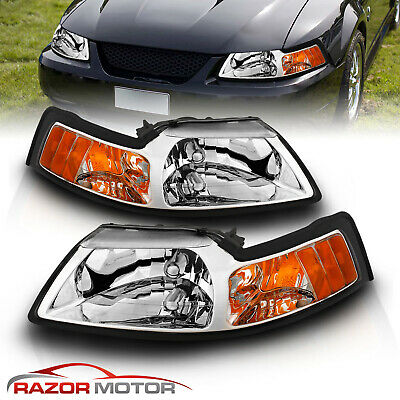 $85.69 • Buy 99-04 Ford Mustang Chrome Crystal Clear Headlights Head Lamp Assembly Amber Pair