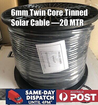 AU88 • Buy 6mm² Twin Core Twin Sheath Solar Power Cable PV Photovoltaic 20Mtr Not On Roll