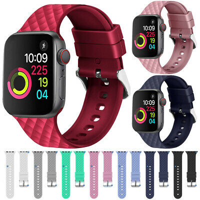 $ CDN4.59 • Buy For Apple Watch Series 5 4 3 2 Silicone Sports Bracelet IWatch Strap Band 40 44