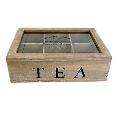 General Store 6 Compartment Tea Bag Box Caddy Vintage Storage Chest Rustic • 10.99£