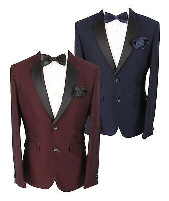 $ CDN176.98 • Buy Cavani Men's Myers Navy Wine Slim Fit Textured Sheen Lapel Tuxedo Suit