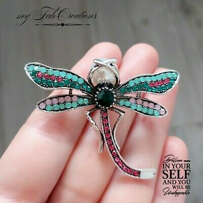 £4.99 • Buy Art Deco Dragonfly Turquoise Butterfly Insect Pin Broach Vintage Style Gift