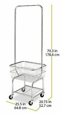 $137.95 • Buy Laundry Cart Basket Commercial Small Room Rolling Butler Clothes Drying Rack New
