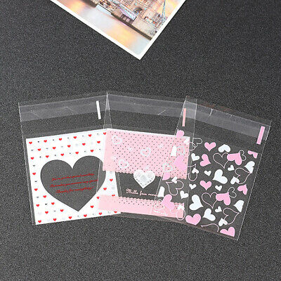 £2.49 • Buy 2 Size Pink Hearts Cello Cellophane Wedding Party Favour Sweet Biscuit Gift Bags