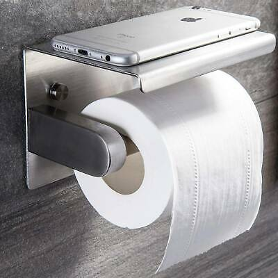 AU20.57 • Buy 304 Silver Stainless Steel Toilet Paper Roll Holder With Phone Shelf AU