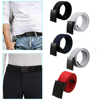 £3.99 • Buy Army Style Plain Webbing Canvas Belt With Adjustable Black Buckle For Men Ladies