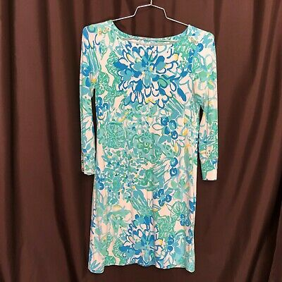 $17.49 • Buy Lilly Pulitzer Knit Dress Sz S White Blue Green Yellow Floral Print Scoopneck