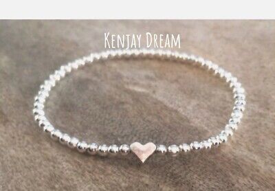 Simple Silver Heart Ball Beaded Stretch Bracelet Stacker Bridesmaid Gift • 3.50£