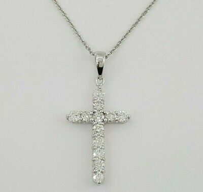$745 • Buy 0.85 Ct 18K White Gold Round Brilliant Cut Diamond Cross Necklace 18  4.2 Grams