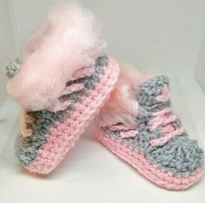 Hand Made Baby Crochet Shoes Trainers Sneakers Clothes Yarn Fur Girls Boys Kids • 5.25£