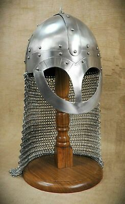 16 Gauge Medieval Chain Mail Viking Helmet Battle Armor Steel Helmet Costume • 79£