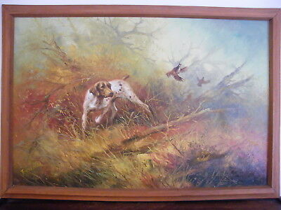 Framed Oil On Canvas Painting Hunting Pointer Setter Dog Game  33  X 23  Signed • 295£